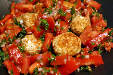 Crusted Goat Cheese with Spinach and Fresh Tomato Salsa 2