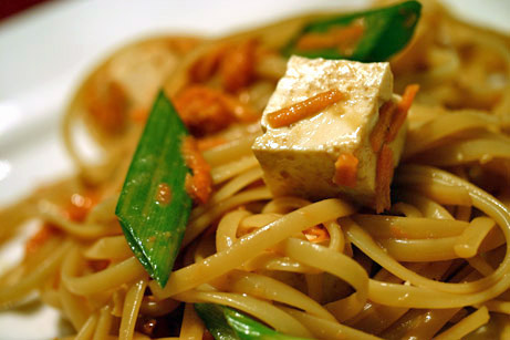 Fettuccine and Tofu With Finger-Licking Peanut Sauce