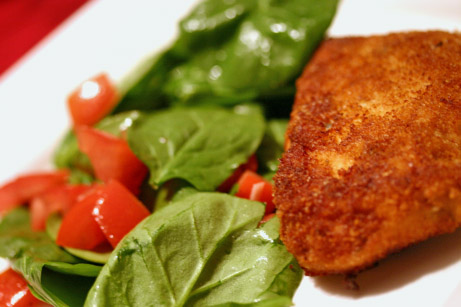 Crunchy Pork Chops with Garlicky Spinach and Tomato Salad