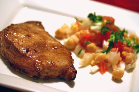 Juicy Pork Chops | Chickpea (Garbanzo Bean) and Tomato Salad Recipe