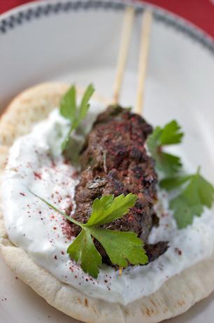 Grilled Beef Kebabs with Yogurt Sauce