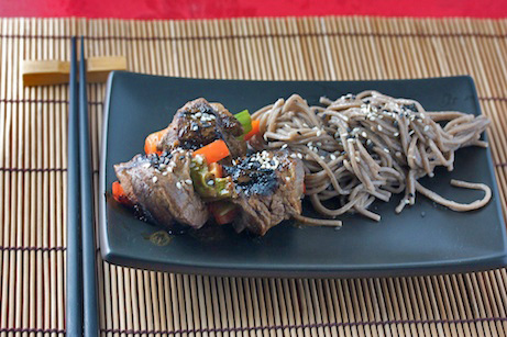 Asian Beef Rolls with Spicy Ginger Noodles