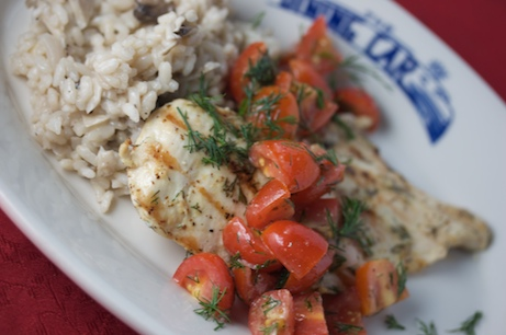 Dill Chicken Paillards with Tomato-Dill Relish