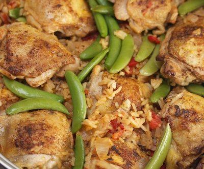 Quick Chicken Paella with Sugar Snap Peas