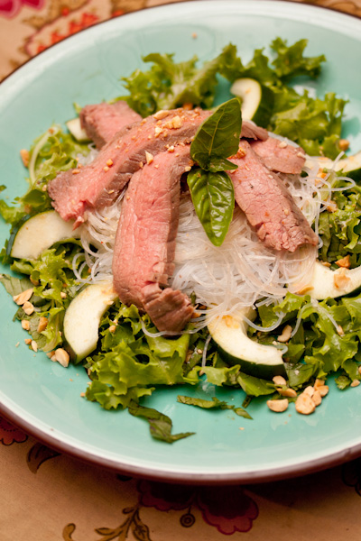 Herbed Beef and Rice-Noodle