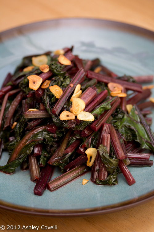 Spicy Sautéed Beet Greens with Garlic Chips