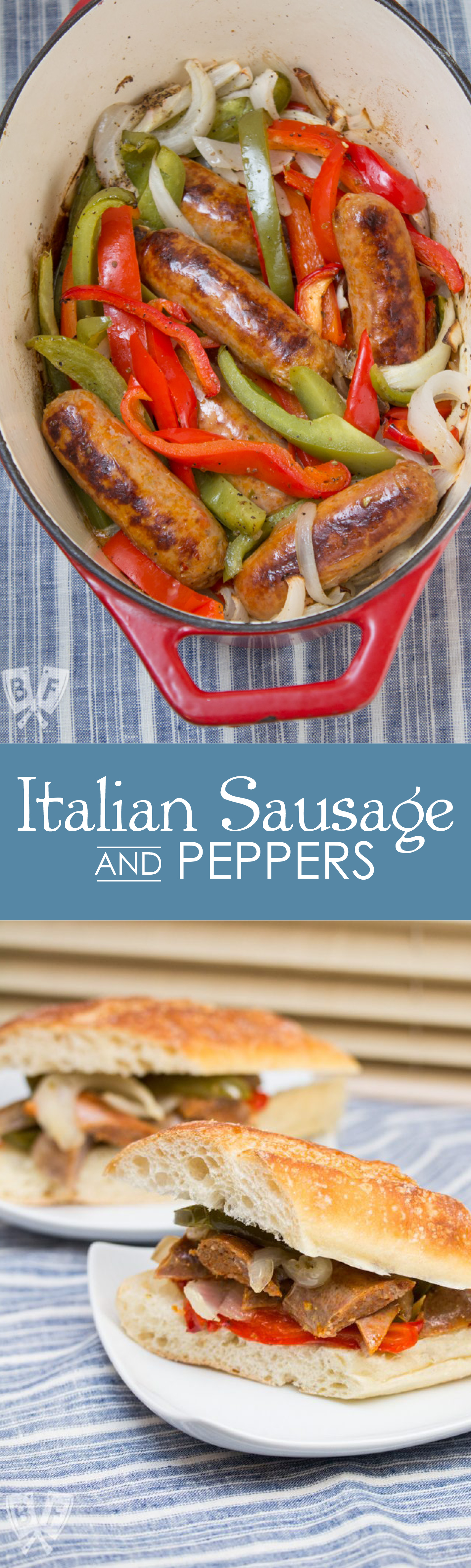 Sausage and Peppers is a simple, classic Italian comfort food recipe makes a perfect weeknight meal and is easily scaled up to feed a crowd. Inspired by my Calabrese father-in-law!