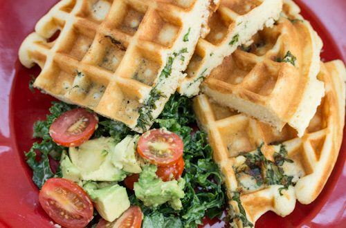 Tahini Kale Stuffed Belgian Waffles with Avocado Tomato Salad