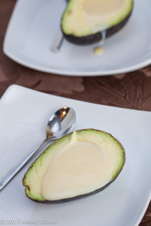 Avocado Filled With Sweetened Condensed Milk