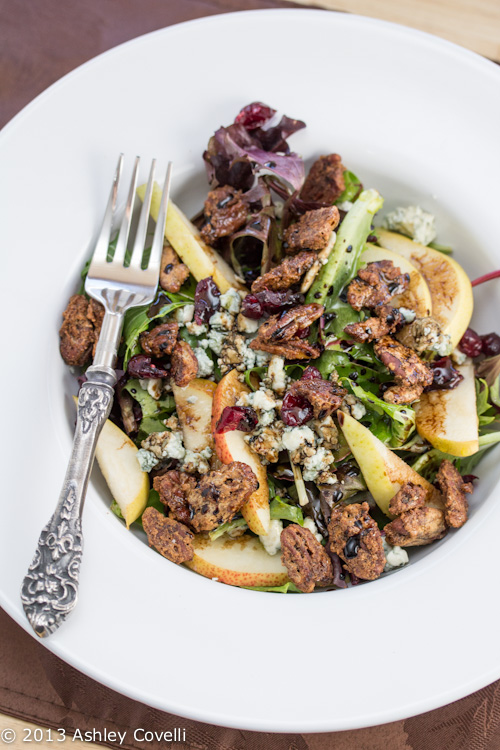Chipotle Chile Candied Pecan, Dried Cranberry, and Crumbled Blue Cheese Salad
