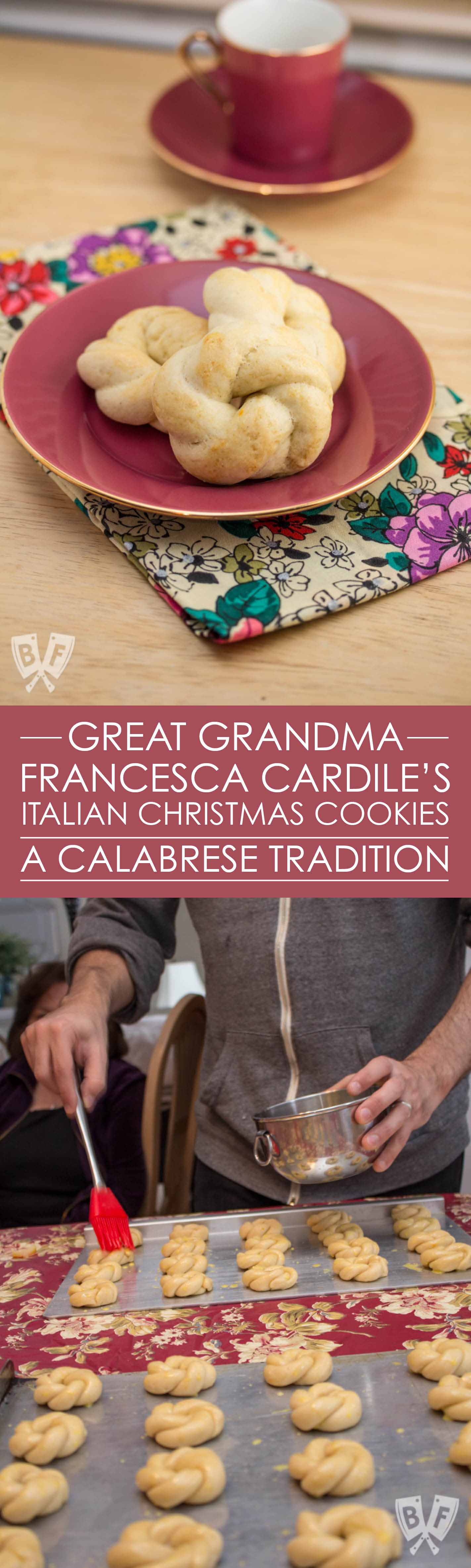 Great Grandma Francesca Cardile's Cookies are an elegant, lightly sweet dessert that are a Calabrese tradition, passed down through the generations and enjoyed annually at Christmas and Easter.