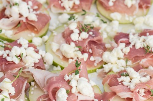 Pears with Prosciutto Di Parma, Goat Cheese, Honey and Thyme