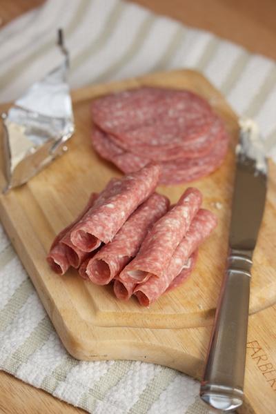 Salami and Garlic Herb Cheese Roll-ups