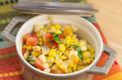 Sautéed Corn with Cilantro, Mint and Tequila