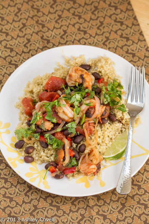 Fire Roasted Tomato and Black Bean Shrimp with Lime-Scented Quinoa
