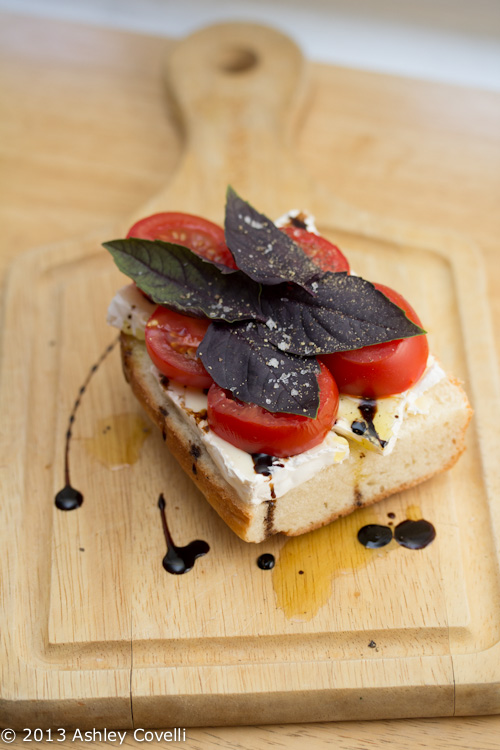 Brie, Tomato and Purple Basil Sandwich with Aged Balsamic