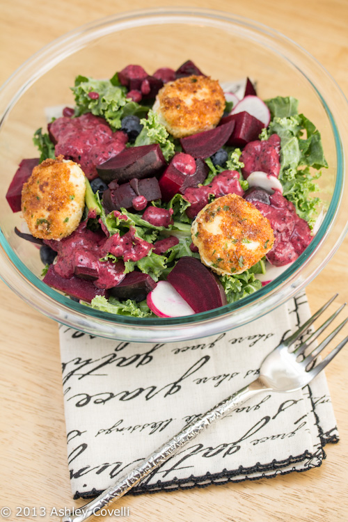 Massaged Kale Salad with Herbed Goat Cheese Croquettes and Fresh Blueberry Vinaigrette