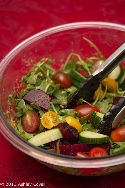 "Salad w ""Roasted"" Garlic Vinaigrette"