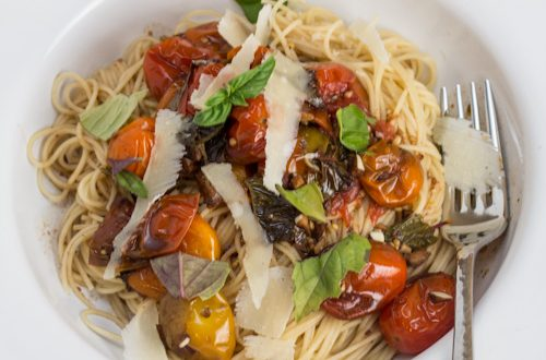 Angel Hair with Balsamic Roasted Grape Tomatoes