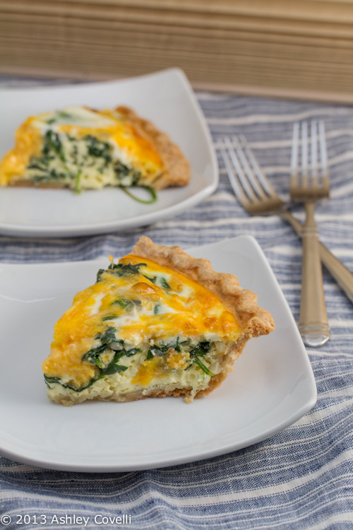 Baby Spinach and Cheddar Quiche
