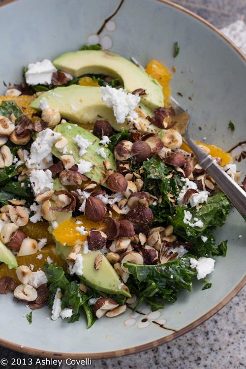 Massaged Kale Salad with Orange, Avocado, Toasted Hazelnut and Goat Cheese