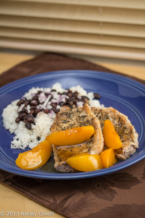 Herb Rubbed Pork Chops with Peach Sauce
