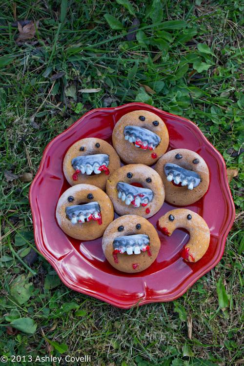 Zombie Pumpkin Cake Doughnuts