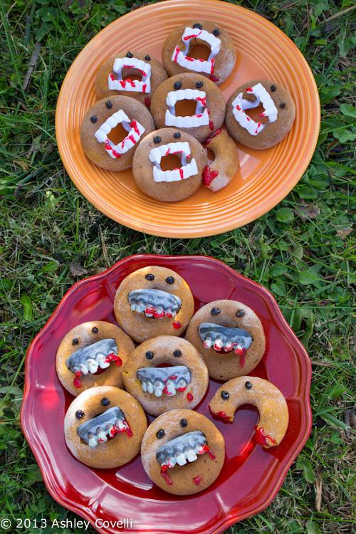 Vampire and Zombie Pumpkin Cake Doughnuts