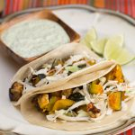Roasted Kabocha and Eggplant Tacos with Poblano Crema