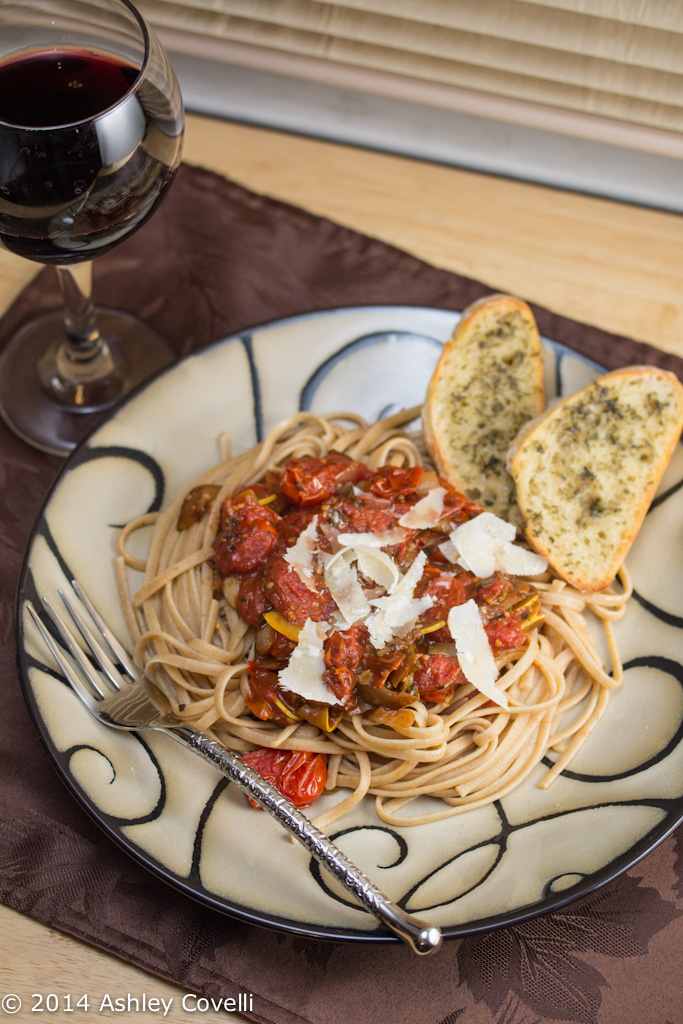 Linguine with Tomato and Summer Squash Sauce