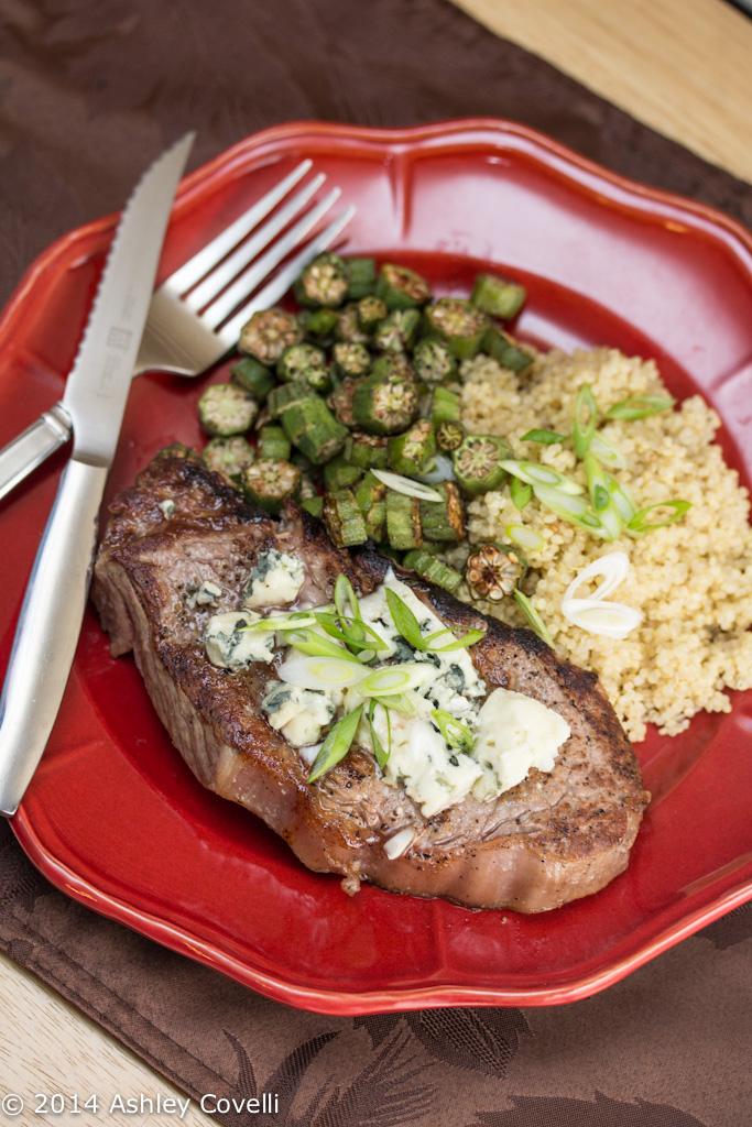 Cast Iron Strip Steak with Danish Blue Cheese