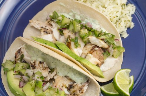 Cilantro and Lime Fish Tacos with Cilantro and Lime Crema