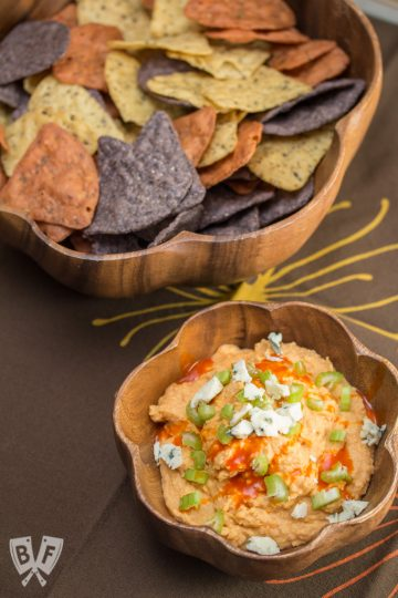 Buffalo Chickpea Dip (#ad): Two of the most in demand SuperBowl snacks have to be Buffalo wings and hummus. But why pick between spicy and smooth when you can have the best of both worlds? #StonyfieldBlogger