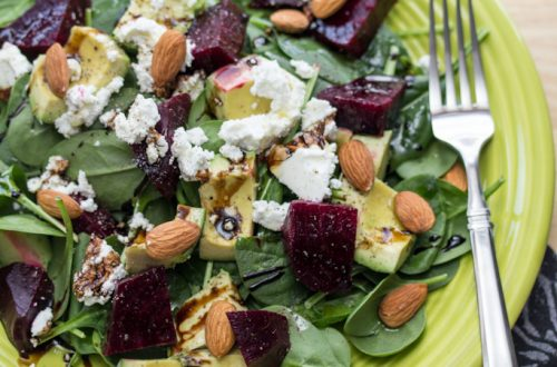 Green and Red Salad with Goat Cheese and Raw Almonds