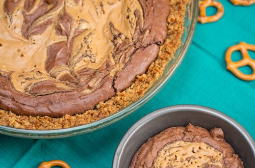 Peanut Butter Brownie Pie with a Pretzel Crust