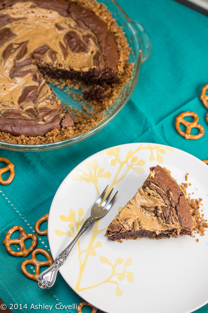 Peanut Butter Brownie Pie with a Pretzel Crust