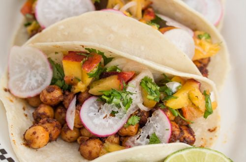 Spiced Chickpea Tacos with Cilantro-Peach Relish