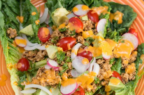 "Taco Salad with Raw Walnut Taco ""Meat"""