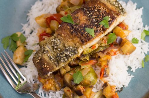 Pan-Fried Barramundi with Zahatar Over Harissa Glazed Vegetables