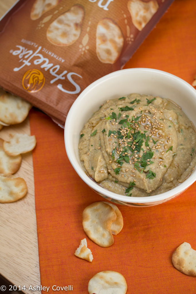 Charred Lemony Baba Ganoush with Naan Crisps