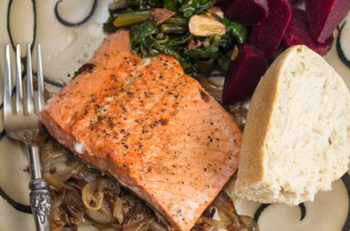 Sockeye Salmon with Caramelized Onions