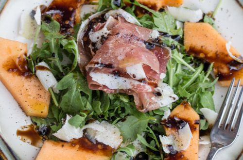Cantaloupe, Prosciutto and Shaved Parmesan Salad