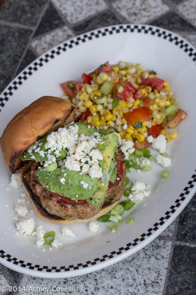 Mexican-Style Turkey Burger with Warm Corn-Tomato Salad