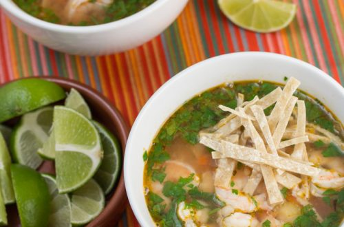 Smoky Shrimp, Hominy and Tortilla Soup