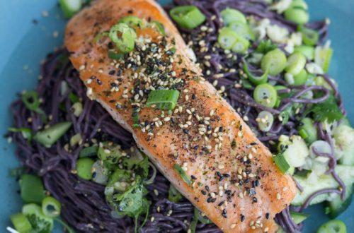 Furikake-Topped Salmon with Fresh Edamame & Miso-Sesame Black Noodles