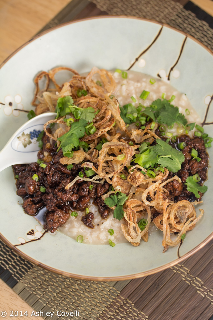 Congee & Caramelized Pork with Crispy Shallots and Black Garlic