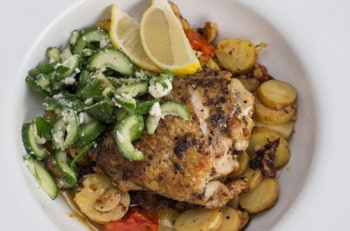 Greek-Style Braised Chicken Thighs with Fingerling Potatoes