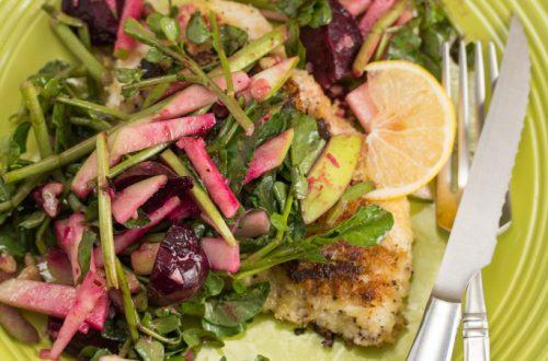 Chicken Schnitzel with Watercress, Apple, Beet & Red Walnut Salad
