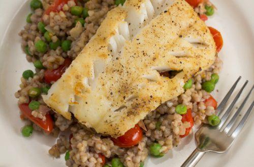 Pan-Fried Cod Over Garlicky Tomato & Pea Buckwheat Groats