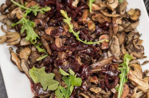 Herb-Roasted Wild Mushrooms with Red Wine and Cream